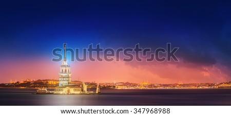 Maiden Tower or Kiz Kulesi Istanbul, Turkey - stock photo