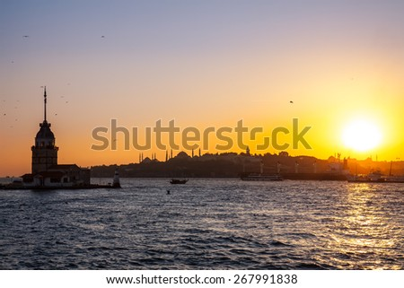 Maiden Tower , Tower of Leandros, Kiz Kulesi, tranquil scenery at the entrance to Bosporus Strait in Istanbul, Turkey - stock photo