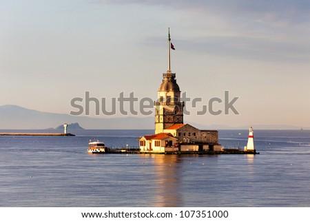 Maiden Tower (Tower of Leandros, Turkish name: Kiz Kulesi) at the entrance to Bosporus Strait in Istanbul, Turkey - stock photo