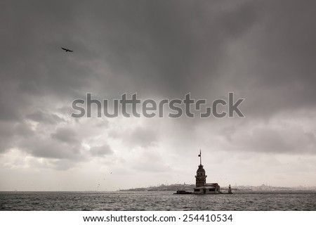 Maidens Tower in snow storm - stock photo