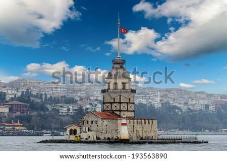 Maidens tower Turkish kiz Kulesi sea shore view - stock photo