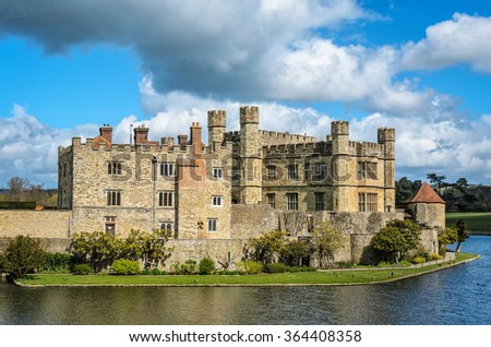 Maidstone, United Kingdom - April 27, 2012: Main building of Leeds Castle with surrounding moat as seen on 27th of April, 2012