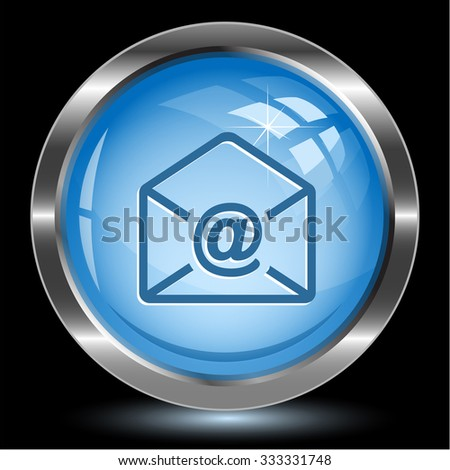 mail at-sign. Internet button. Raster illustration. - stock photo