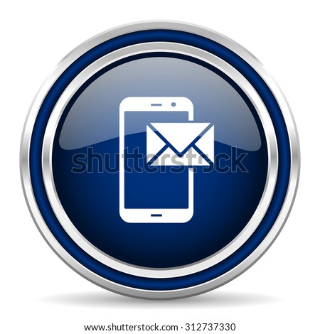 mail blue glossy web icon modern computer design with double metallic silver border on white background with shadow for web and mobile app round internet button for business usage   - stock photo