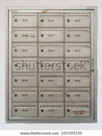 Mail box in front of apartment - stock photo