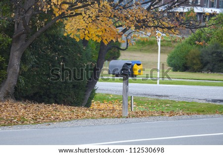 Mail box in front of my neighbor house at Hawea Central Otago New Zealand - stock photo