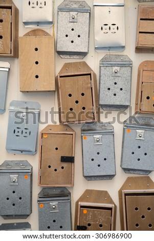 mail box on wall - stock photo
