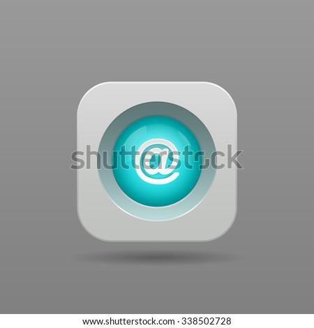 Mail Button - App Icon - stock photo