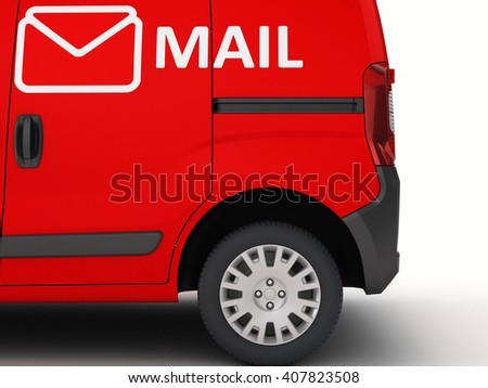 Mail car isolated on white.3D illustration. - stock photo