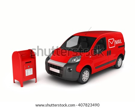Mail car with a mailbox.3D illustration. - stock photo