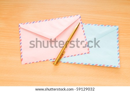 Mail concept with many envelopes on the table