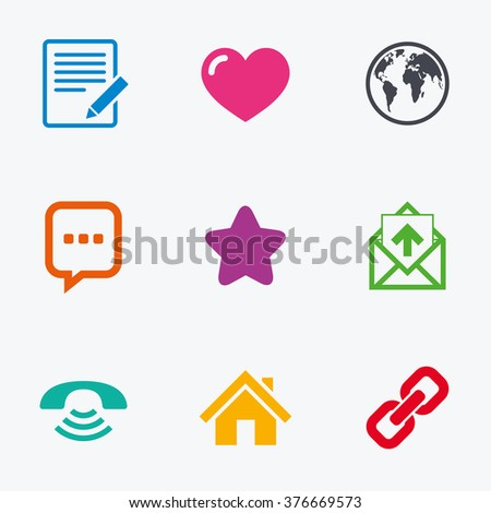 Mail, contact icons. Favorite, like and internet signs. E-mail, chat message and phone call symbols. Flat colored graphic icons.