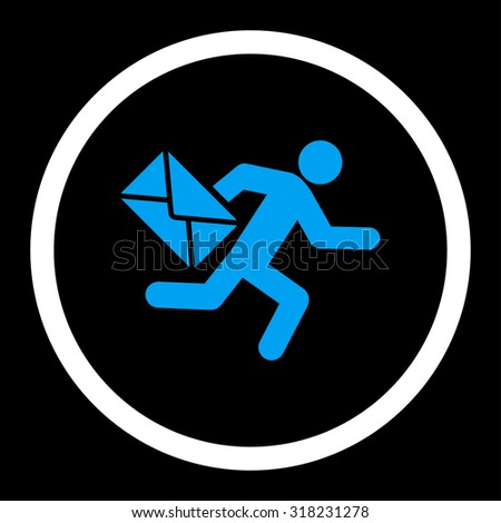 Mail courier glyph icon. This rounded flat symbol is drawn with blue and white colors on a black background. - stock photo