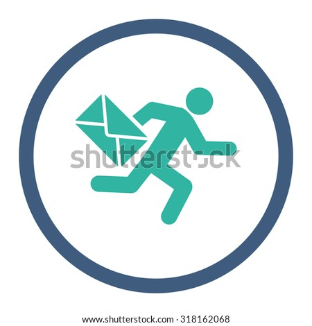 Mail courier glyph icon. This rounded flat symbol is drawn with cobalt and cyan colors on a white background. - stock photo