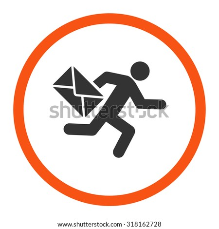 Mail courier glyph icon. This rounded flat symbol is drawn with orange and gray colors on a white background. - stock photo