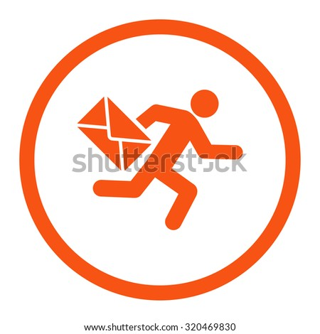 Mail courier glyph icon. This rounded flat symbol is drawn with orange color on a white background. - stock photo