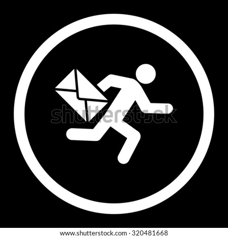 Mail courier glyph icon. This rounded flat symbol is drawn with white color on a black background. - stock photo