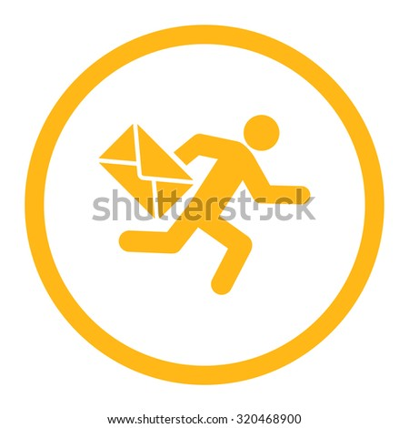 Mail courier glyph icon. This rounded flat symbol is drawn with yellow color on a white background. - stock photo