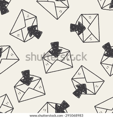 mail doodle seamless pattern background