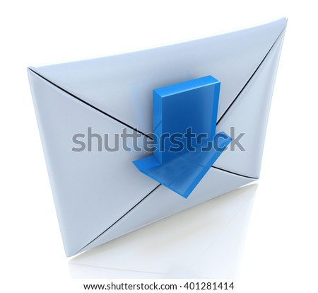 Mail Envelope and blue arrow. 3D rendered illustration - stock photo