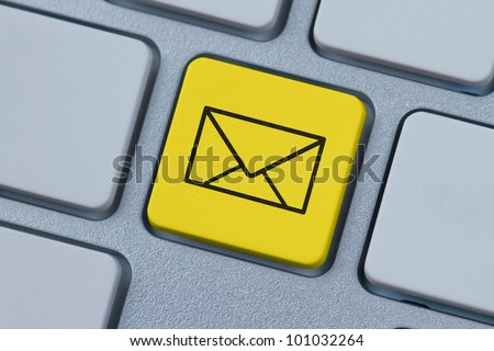 Mail envelope symbol at the computer key - stock photo