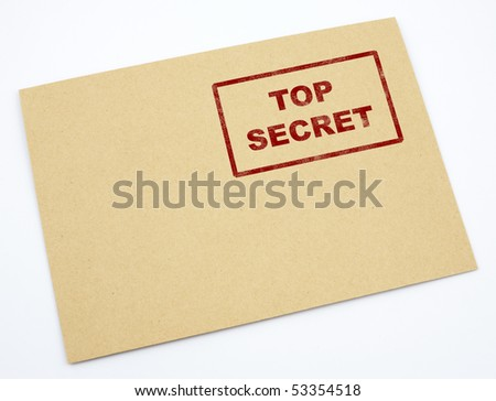 Mail envelope with a stamp top secret - stock photo