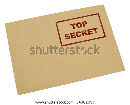 "Mail envelope with a stamp"" top secret"",Isolated on white with clipping paths. - stock photo"