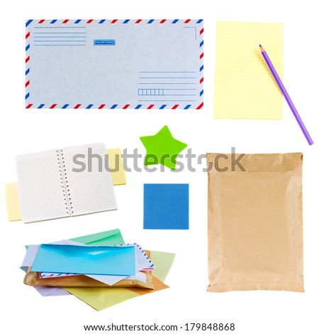 mail envelopes, notes and  stickers   isolated on white background - stock photo