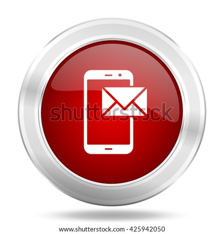 mail icon, red round metallic glossy button, web and mobile app design illustration - stock photo