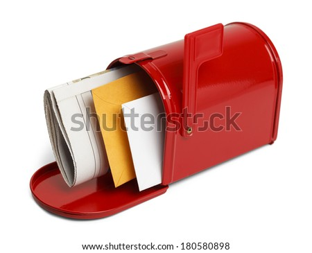 Mail in A Open Red Mailbox Isolated on White Background. - stock photo