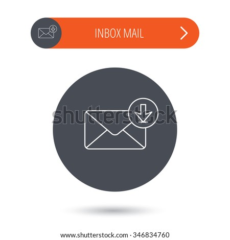 Mail inbox icon. Email message sign. Download arrow symbol. Gray flat circle button. Orange button with arrow.  - stock photo