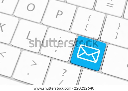 Mail keyboard button on grey keyboard - stock photo