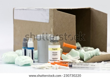 Mail order diabetic supplies with box and styrofoam peanuts. - stock photo
