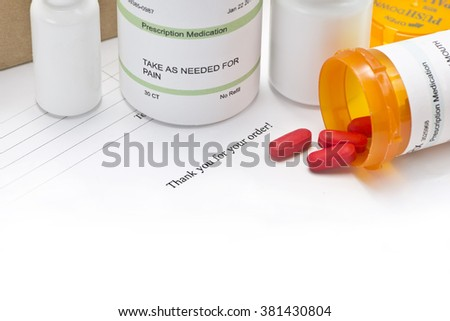 Mail order medications with invoice and copy space.   - stock photo