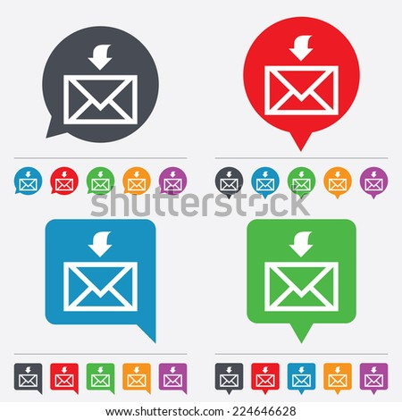 Mail receive icon. Envelope symbol. Get message sign. Mail navigation button. Speech bubbles information icons. 24 colored buttons. - stock photo