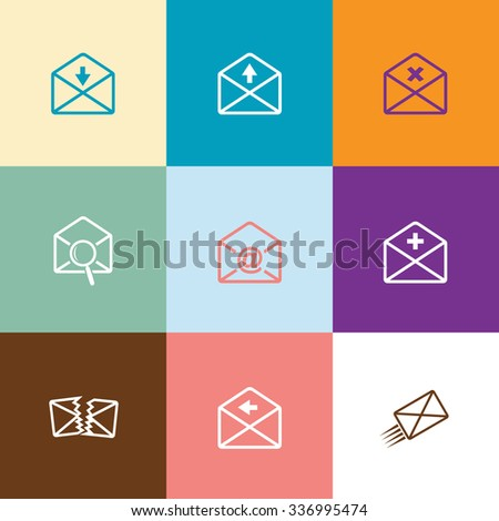 Mail set. Flat color raster icons. - stock photo