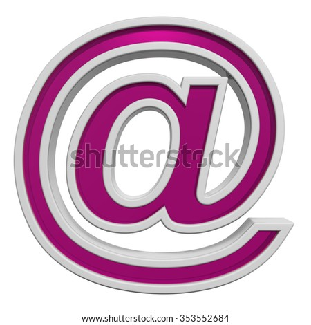 Mail sign from pink glass with white frame alphabet set, isolated on white. Computer generated 3D photo rendering.