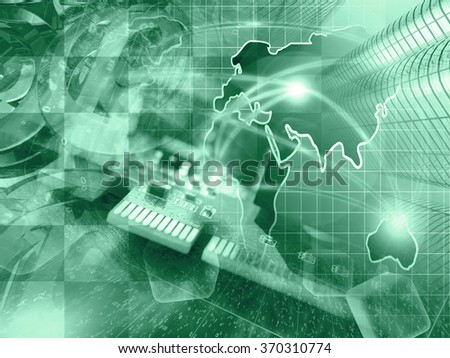 Mail signs, device and map - abstract computer background in greens. - stock photo