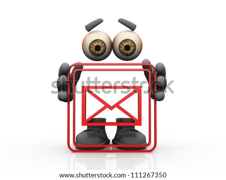 mail symbol on a white background - stock photo
