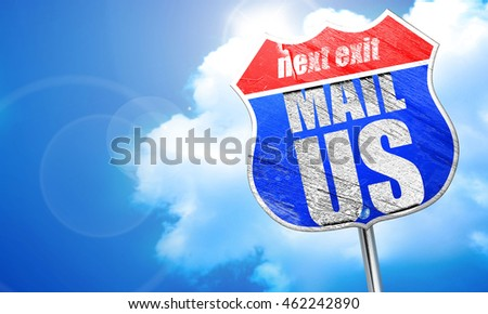mail us, 3D rendering, blue street sign