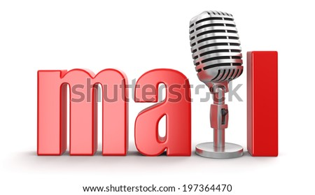 Mail with Microphone (clipping path included) - stock photo