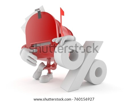 Mailbox character with percent symbol isolated on white background. 3d illustration