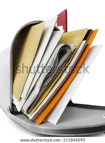 Mailbox close-up, full with envelopes, white background