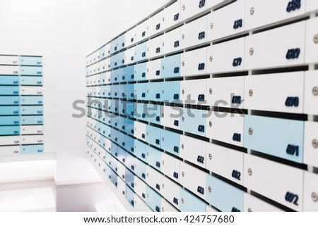 Mailbox in condominium for informations and news - stock photo