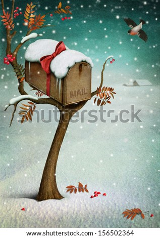 Mailbox in  winter forest. Fabulous illustration or  greeting card with  Christmas. Computer graphics. - stock photo