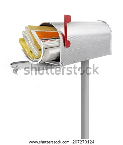 Mailbox Mailbox full with correspondence, white background - stock photo