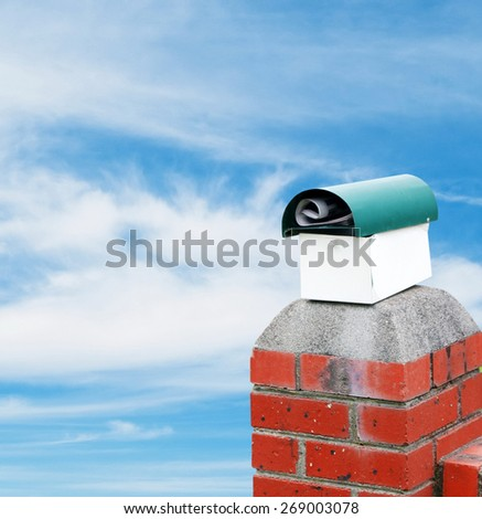 mailbox on the sky background - stock photo