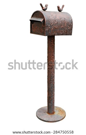 Mailbox vintage style isolated on white - stock photo