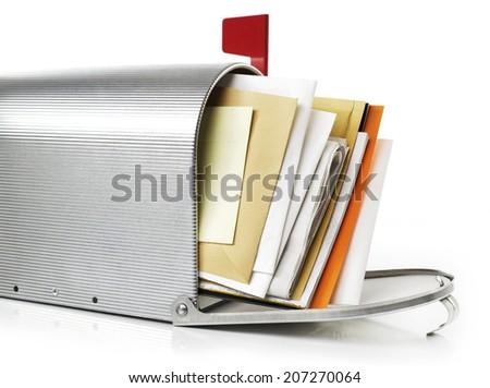 Mailbox with correspondence - stock photo