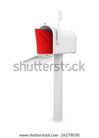 Mailbox with envelope, isolated on white